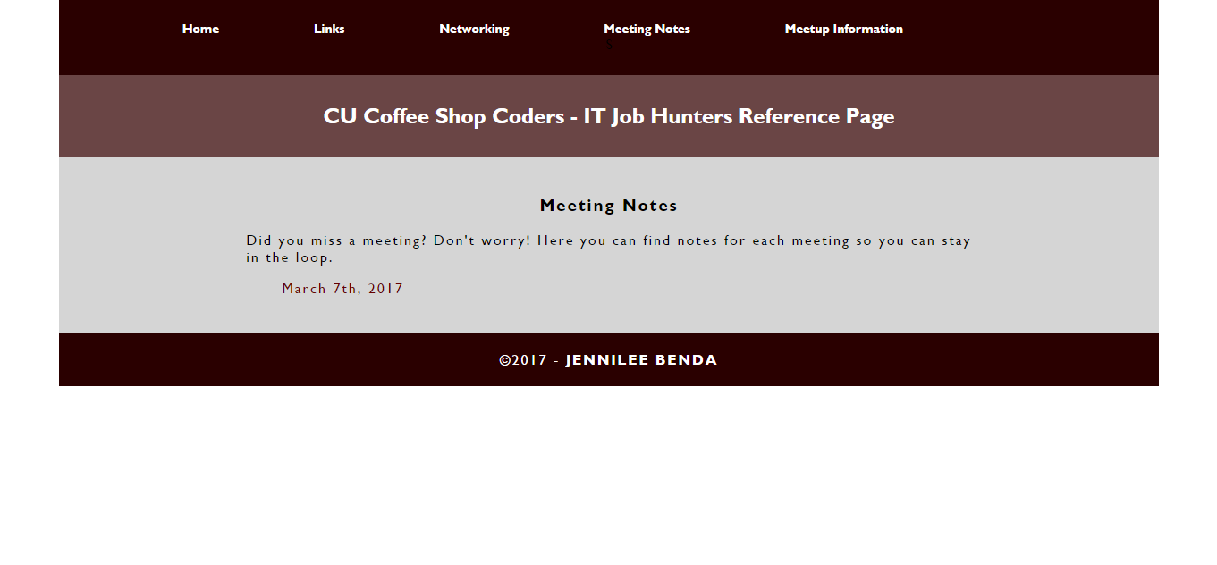 CU Coffee Shop Coders IT Job Hunters Group Reference